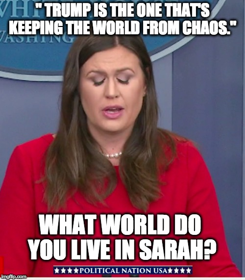 """ TRUMP IS THE ONE THAT'S KEEPING THE WORLD FROM CHAOS."" WHAT WORLD DO YOU LIVE IN SARAH? 