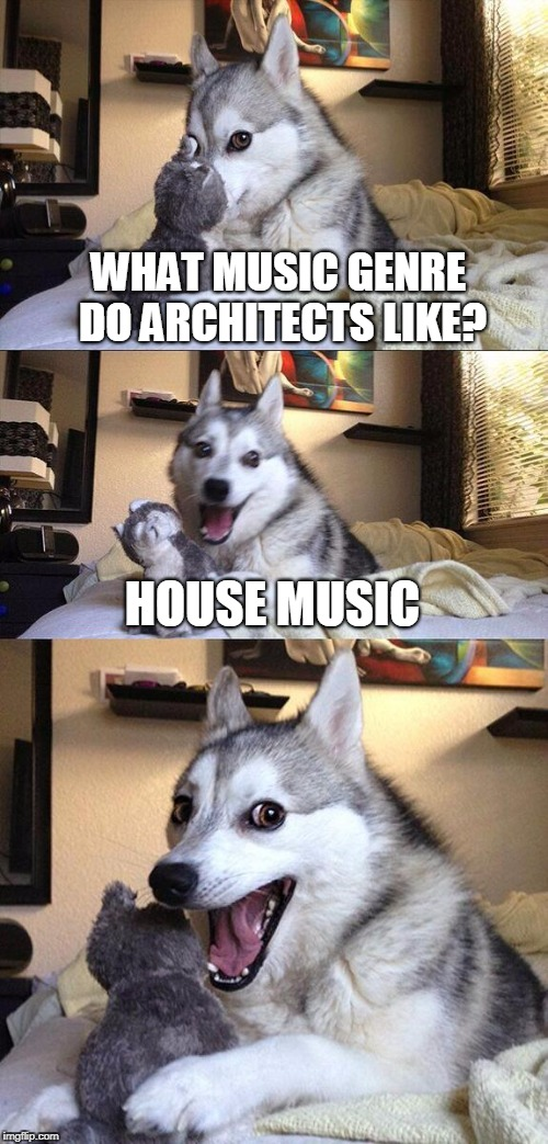 Bad Pun Dog Meme | WHAT MUSIC GENRE DO ARCHITECTS LIKE? HOUSE MUSIC | image tagged in memes,bad pun dog | made w/ Imgflip meme maker