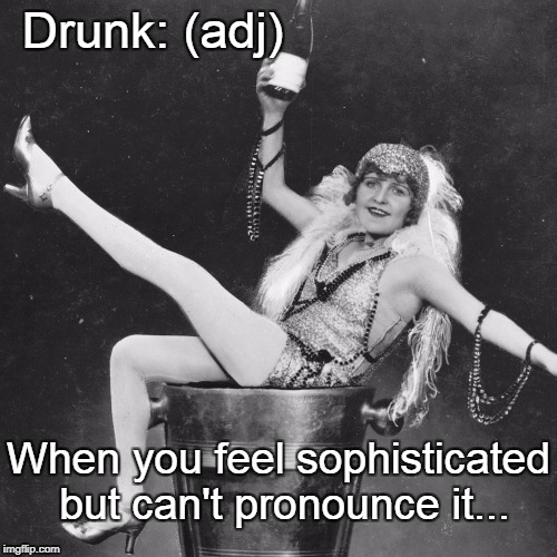 Drunk defined... | Drunk: (adj) When you feel sophisticated but can't pronounce it... | image tagged in drunk,sophisticated | made w/ Imgflip meme maker