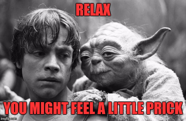 Luke&Yoda | RELAX YOU MIGHT FEEL A LITTLE PRICK | image tagged in lukeyoda | made w/ Imgflip meme maker