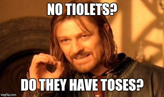 One Does Not Simply Meme | NO TIOLETS? DO THEY HAVE TOSES? | image tagged in memes,one does not simply | made w/ Imgflip meme maker