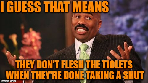 Steve Harvey Meme | I GUESS THAT MEANS THEY DON'T FLESH THE TIOLETS WHEN THEY'RE DONE TAKING A SHUT | image tagged in memes,steve harvey | made w/ Imgflip meme maker