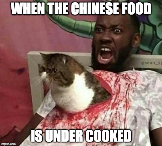 We can see make fun of Asians, right? | WHEN THE CHINESE FOOD IS UNDER COOKED | image tagged in asian,cat,grumpy cat,raw,i'm asian so it's cool | made w/ Imgflip meme maker