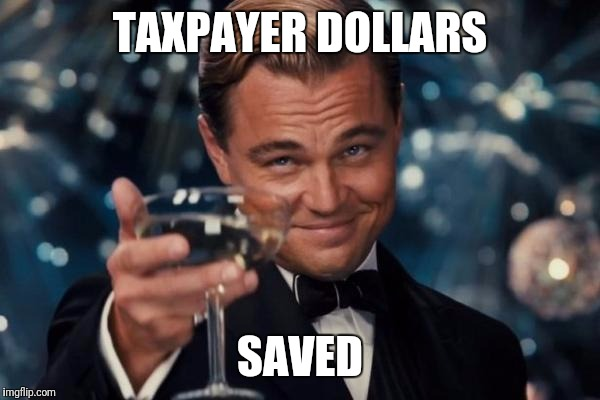 Leonardo Dicaprio Cheers Meme | TAXPAYER DOLLARS SAVED | image tagged in memes,leonardo dicaprio cheers | made w/ Imgflip meme maker