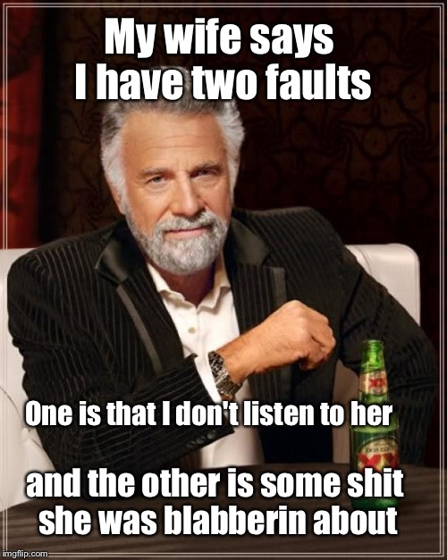 The Most Interesting Man In The World Meme | My wife says I have two faults and the other is some shit she was blabberin about One is that I don't listen to her | image tagged in memes,the most interesting man in the world | made w/ Imgflip meme maker