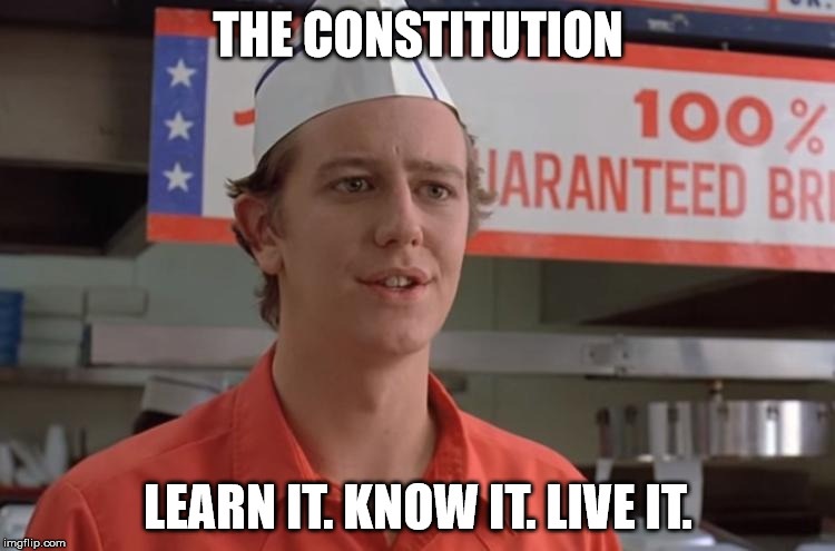 THE CONSTITUTION LEARN IT. KNOW IT. LIVE IT. | image tagged in judge reinhold | made w/ Imgflip meme maker