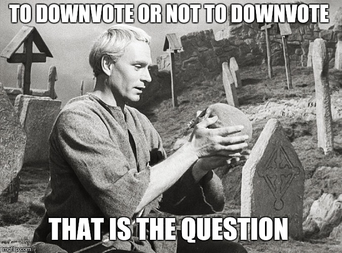 Hamlet | TO DOWNVOTE OR NOT TO DOWNVOTE THAT IS THE QUESTION | image tagged in hamlet | made w/ Imgflip meme maker