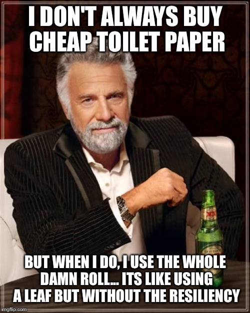 The Most Interesting Man In The World Meme | I DON'T ALWAYS BUY CHEAP TOILET PAPER BUT WHEN I DO, I USE THE WHOLE DAMN ROLL... ITS LIKE USING A LEAF BUT WITHOUT THE RESILIENCY | image tagged in memes,the most interesting man in the world | made w/ Imgflip meme maker