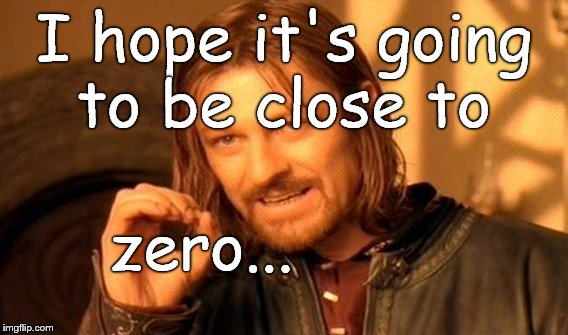 One Does Not Simply Meme | I hope it's going to be close to zero... | image tagged in memes,one does not simply | made w/ Imgflip meme maker
