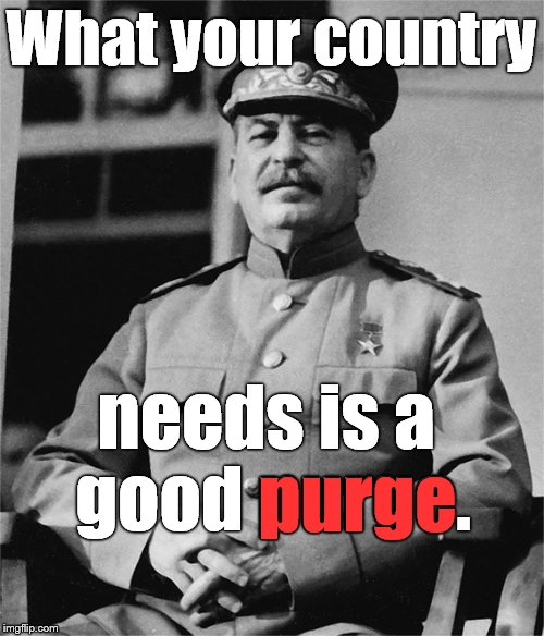J. Stalin has a prescription for America. And Britain. And France, and Africa, and Asia, and the Pacific, and  | What your country needs is a good purge. purge | image tagged in bloodbath,purge,good old fashion repression,ends justify means,no good crisis should go to waste,stalin | made w/ Imgflip meme maker