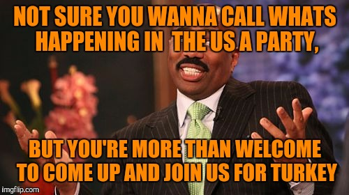 Steve Harvey Meme | NOT SURE YOU WANNA CALL WHATS HAPPENING IN  THE US A PARTY, BUT YOU'RE MORE THAN WELCOME TO COME UP AND JOIN US FOR TURKEY | image tagged in memes,steve harvey | made w/ Imgflip meme maker