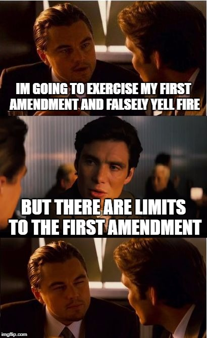 Inception Meme | IM GOING TO EXERCISE MY FIRST AMENDMENT AND FALSELY YELL FIRE BUT THERE ARE LIMITS TO THE FIRST AMENDMENT | image tagged in memes,inception | made w/ Imgflip meme maker