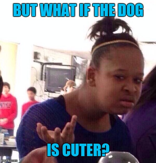 Black Girl Wat Meme | BUT WHAT IF THE DOG IS CUTER? | image tagged in memes,black girl wat | made w/ Imgflip meme maker