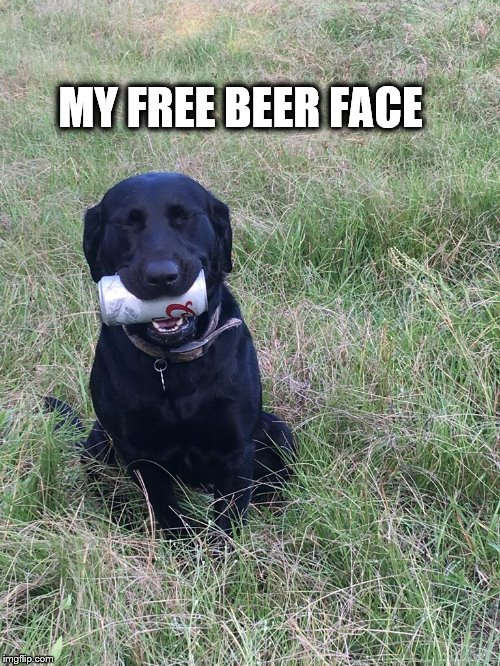 Everyone loves free beer | MY FREE BEER FACE | image tagged in beer | made w/ Imgflip meme maker
