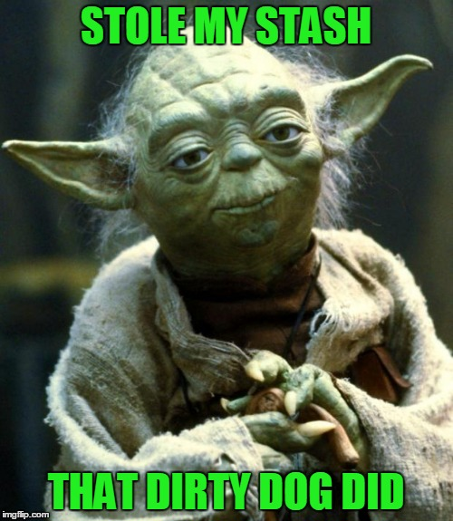 Star Wars Yoda Meme | STOLE MY STASH THAT DIRTY DOG DID | image tagged in memes,star wars yoda | made w/ Imgflip meme maker
