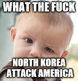 Skeptical Baby Meme | WHAT THE F**K NORTH KOREA ATTACK AMERICA | image tagged in memes,skeptical baby | made w/ Imgflip meme maker