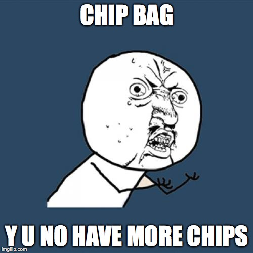 Y U No Meme | CHIP BAG Y U NO HAVE MORE CHIPS | image tagged in memes,y u no | made w/ Imgflip meme maker
