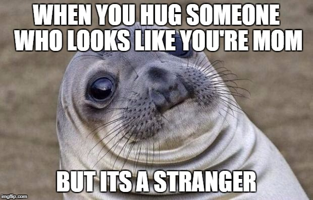Awkward Moment Sealion Meme | WHEN YOU HUG SOMEONE WHO LOOKS LIKE YOU'RE MOM BUT ITS A STRANGER | image tagged in memes,awkward moment sealion | made w/ Imgflip meme maker