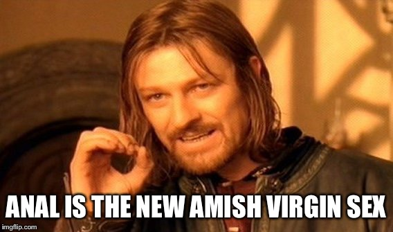 One Does Not Simply Meme | ANAL IS THE NEW AMISH VIRGIN SEX | image tagged in memes,one does not simply | made w/ Imgflip meme maker