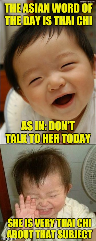 Gotta Love Bad Puns  | THE ASIAN WORD OF THE DAY IS THAI CHI SHE IS VERY THAI CHI ABOUT THAT SUBJECT AS IN: DON'T TALK TO HER TODAY | image tagged in bad pun,memes,funny,asian stereotypes,stereotypes,asian baby laughing | made w/ Imgflip meme maker