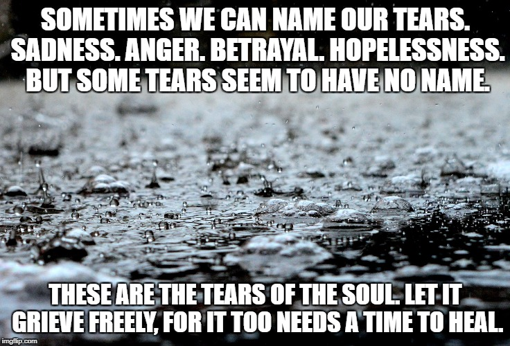 Tears of Healing | SOMETIMES WE CAN NAME OUR TEARS. SADNESS. ANGER. BETRAYAL. HOPELESSNESS. BUT SOME TEARS SEEM TO HAVE NO NAME. THESE ARE THE TEARS OF THE SOU | image tagged in loss,grief,pain,soul,hope,inspiration | made w/ Imgflip meme maker