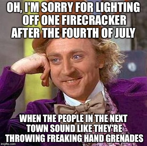 Creepy Condescending Wonka Meme | OH, I'M SORRY FOR LIGHTING OFF ONE FIRECRACKER AFTER THE FOURTH OF JULY WHEN THE PEOPLE IN THE NEXT TOWN SOUND LIKE THEY'RE THROWING FREAKIN | image tagged in memes,creepy condescending wonka | made w/ Imgflip meme maker