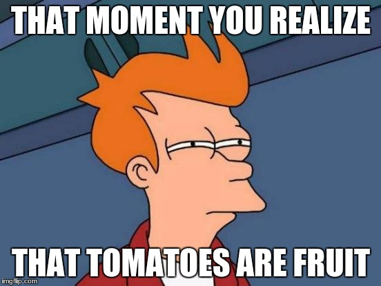 Futurama Fry Meme | THAT MOMENT YOU REALIZE THAT TOMATOES ARE FRUIT | image tagged in memes,futurama fry | made w/ Imgflip meme maker