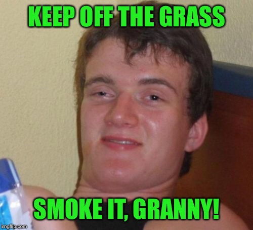 10 Guy Meme | KEEP OFF THE GRASS SMOKE IT, GRANNY! | image tagged in memes,10 guy | made w/ Imgflip meme maker