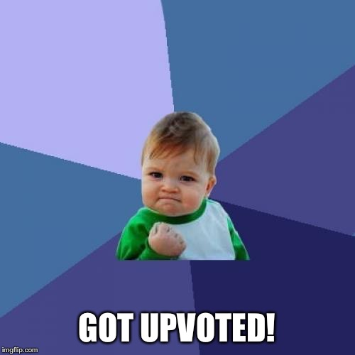 Success Kid Meme | GOT UPVOTED! | image tagged in memes,success kid | made w/ Imgflip meme maker