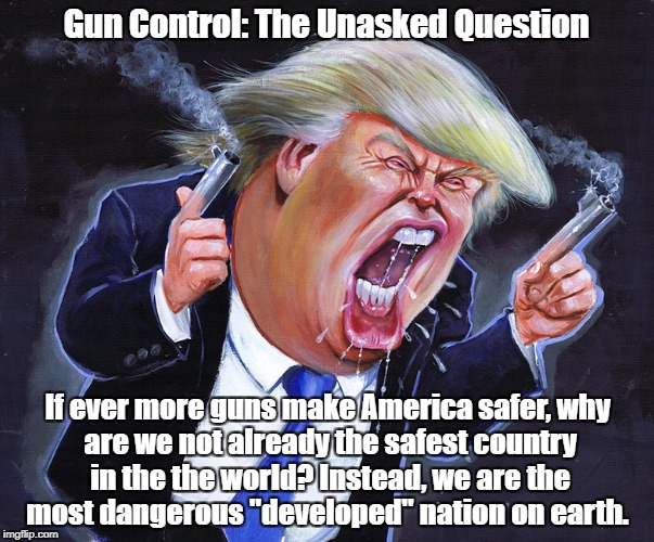 Gun Control: The Unasked Question If ever more guns make America safer, why are we not already the safest country in the the world? Instead, | made w/ Imgflip meme maker