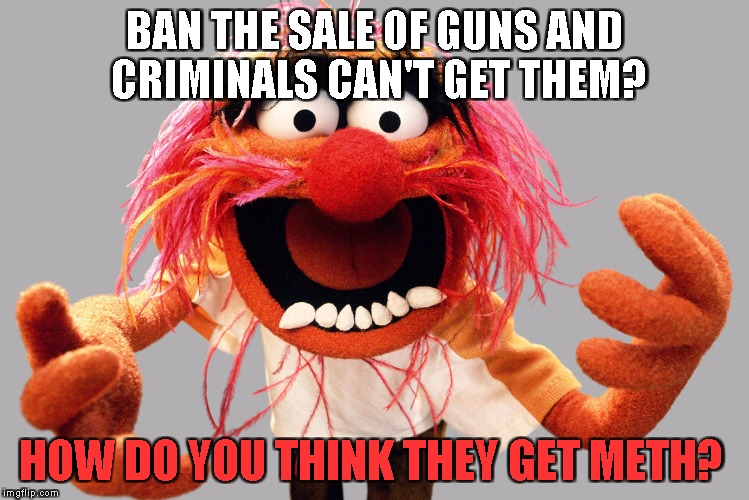 BAN THE SALE OF GUNS AND CRIMINALS CAN'T GET THEM? HOW DO YOU THINK THEY GET METH? | image tagged in animal muppets | made w/ Imgflip meme maker