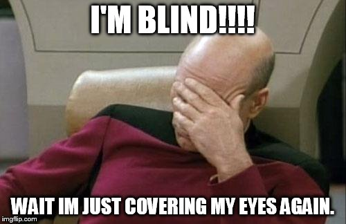 Captain Picard Facepalm Meme | I'M BLIND!!!! WAIT IM JUST COVERING MY EYES AGAIN. | image tagged in memes,captain picard facepalm | made w/ Imgflip meme maker