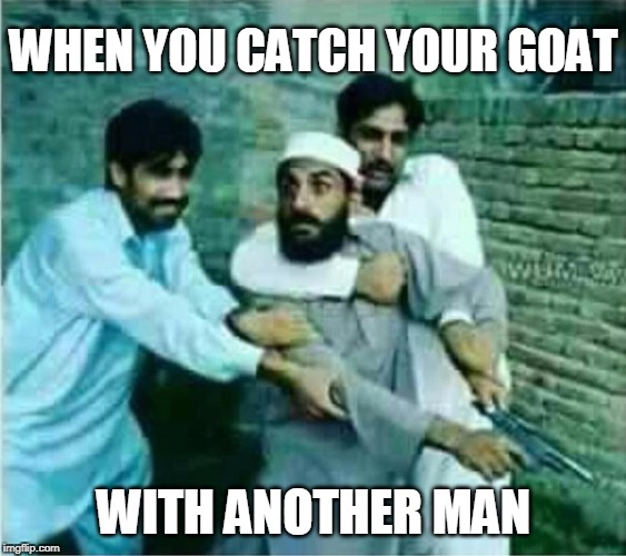 Infidels | WHEN YOU CATCH YOUR GOAT WITH ANOTHER MAN | image tagged in goat,muslim goat,rage | made w/ Imgflip meme maker