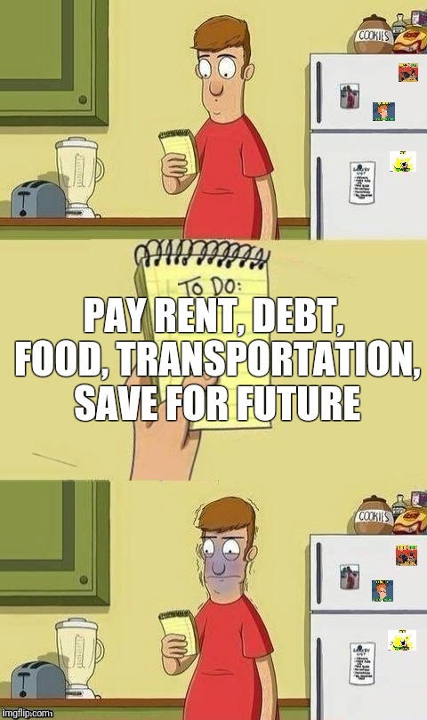 To Do List | PAY RENT, DEBT, FOOD, TRANSPORTATION, SAVE FOR FUTURE | image tagged in to do list | made w/ Imgflip meme maker