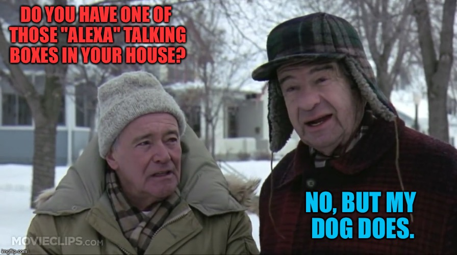 "Grumpy old men  | DO YOU HAVE ONE OF THOSE ""ALEXA"" TALKING BOXES IN YOUR HOUSE? NO, BUT MY DOG DOES. 