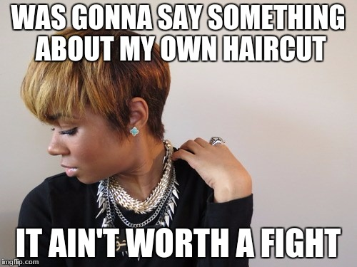 WAS GONNA SAY SOMETHING ABOUT MY OWN HAIRCUT IT AIN'T WORTH A FIGHT | made w/ Imgflip meme maker