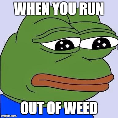 Sad frog | WHEN YOU RUN OUT OF WEED | image tagged in sad frog | made w/ Imgflip meme maker
