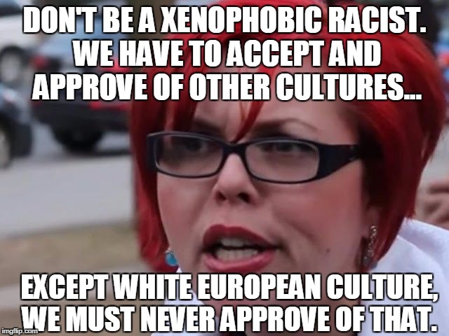 DON'T BE A XENOPHOBIC RACIST. WE HAVE TO ACCEPT AND APPROVE OF OTHER CULTURES... EXCEPT WHITE EUROPEAN CULTURE, WE MUST NEVER APPROVE OF THA | made w/ Imgflip meme maker