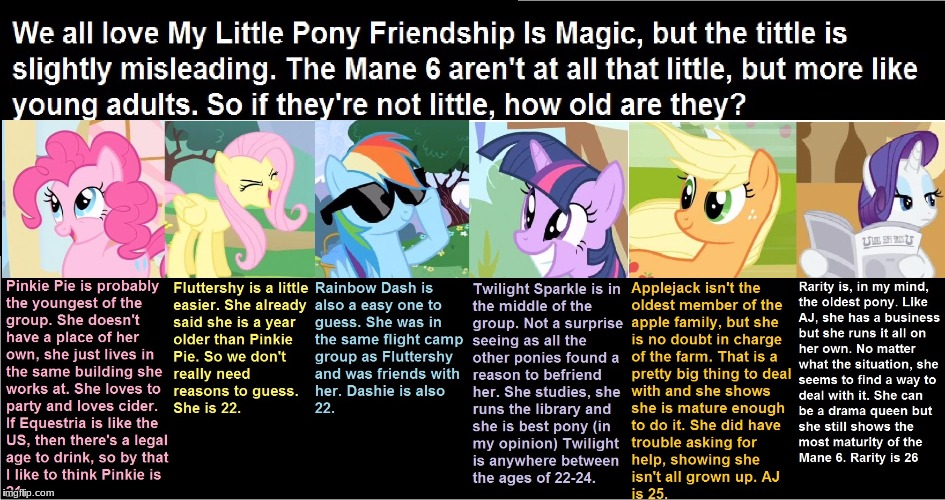 Approximate age for the ponies | image tagged in memes,ponies,age,mane 6 | made w/ Imgflip meme maker