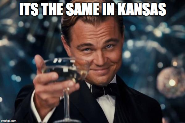 Leonardo Dicaprio Cheers Meme | ITS THE SAME IN KANSAS | image tagged in memes,leonardo dicaprio cheers | made w/ Imgflip meme maker