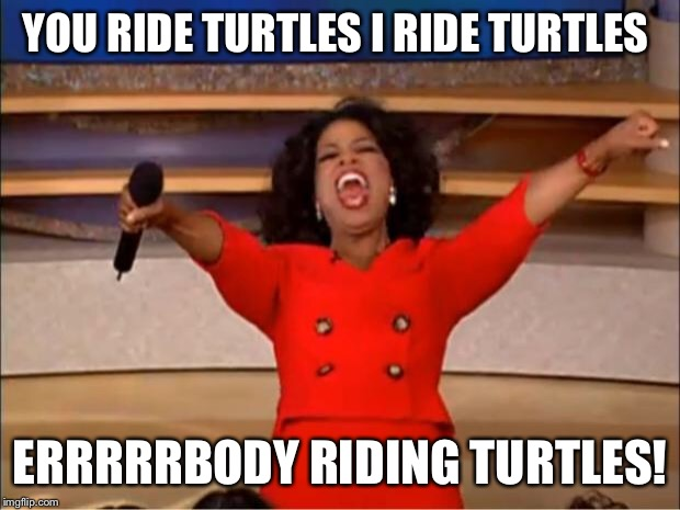 Oprah You Get A Meme | YOU RIDE TURTLES I RIDE TURTLES ERRRRRBODY RIDING TURTLES! | image tagged in memes,oprah you get a | made w/ Imgflip meme maker
