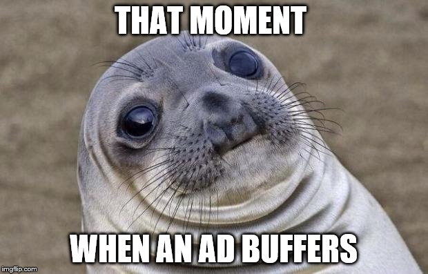 Awkward Moment Sealion Meme | THAT MOMENT WHEN AN AD BUFFERS | image tagged in memes,awkward moment sealion | made w/ Imgflip meme maker