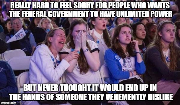 REALLY HARD TO FEEL SORRY FOR PEOPLE WHO WANTS THE FEDERAL GOVERNMENT TO HAVE UNLIMITED POWER BUT NEVER THOUGHT IT WOULD END UP IN THE HANDS | image tagged in snowflakes,college liberal,libtards,liberal logic,stupid liberals | made w/ Imgflip meme maker
