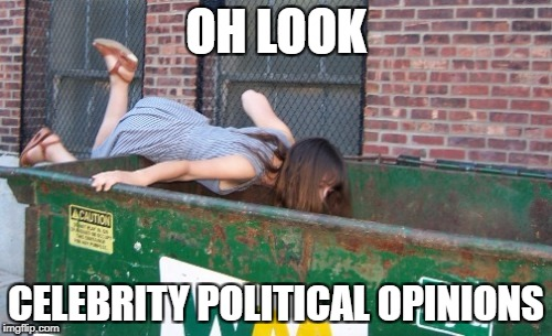 OH LOOK CELEBRITY POLITICAL OPINIONS | image tagged in scumbag hollywood,hollywood liberals,liberals | made w/ Imgflip meme maker