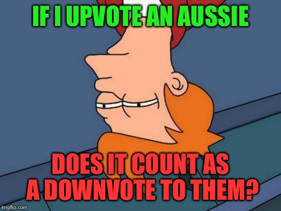 Thanks to smerkin for inspiring this! | IF I UPVOTE AN AUSSIE DOES IT COUNT AS A DOWNVOTE TO THEM? | image tagged in memes,futurama fry,smerkin,aussie,do upvotes count as downvotes | made w/ Imgflip meme maker