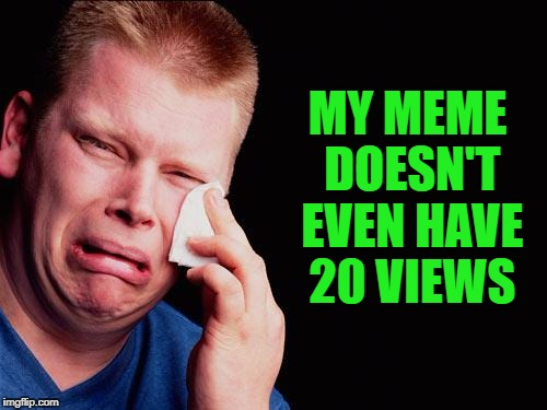 cry | MY MEME DOESN'T EVEN HAVE 20 VIEWS | image tagged in cry | made w/ Imgflip meme maker