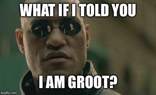 Matrix Morpheus Meme | WHAT IF I TOLD YOU I AM GROOT? | image tagged in memes,matrix morpheus | made w/ Imgflip meme maker