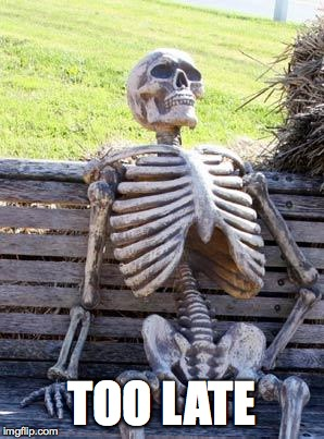 Waiting Skeleton Meme | TOO LATE | image tagged in memes,waiting skeleton | made w/ Imgflip meme maker