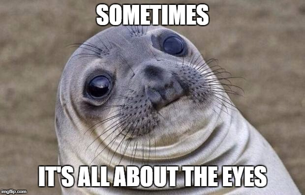 Awkward Moment Sealion Meme | SOMETIMES IT'S ALL ABOUT THE EYES | image tagged in memes,awkward moment sealion | made w/ Imgflip meme maker