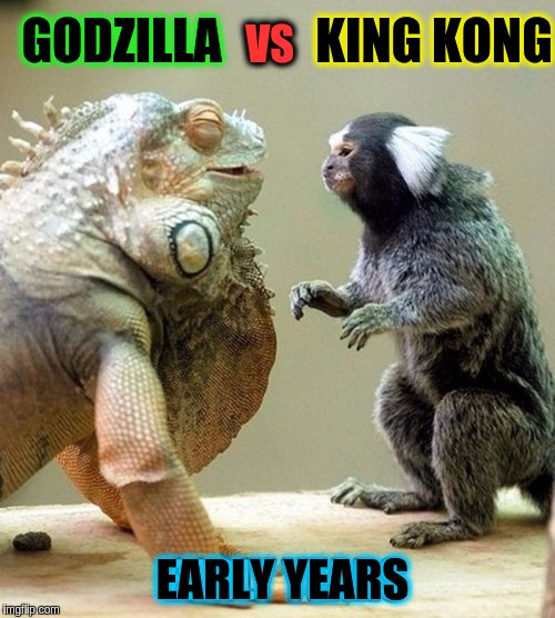 This is how it started!!! (≖_≖ ) |  KING KONG; GODZILLA; VS; EARLY YEARS | image tagged in memes,funny,king kong,godzilla,monkey,lizard | made w/ Imgflip meme maker